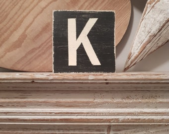 wooden sign, vintage style, personalised letter blocks, initials, wooden letters, monograms, letter K,  10cm square, hand painted