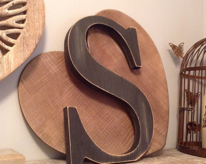 Wooden Letter S - 30cm x 18mm, Freestanding - Georgian Font - Various sizes, finishes and colours