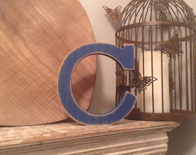 Wooden Letter C – Personalized Name Letter – Nursery Decoration Ideas – Rustic Room Décor – Rockwell Style C – Decorative Wooden Sign