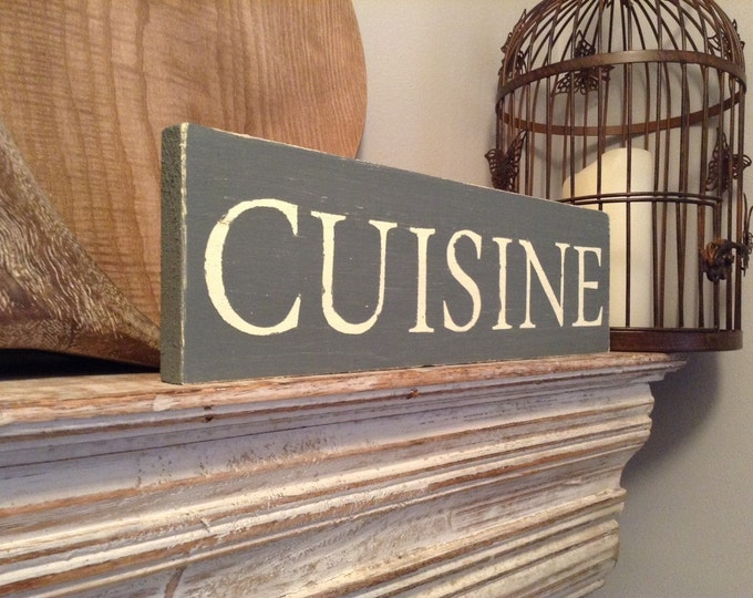 Handmade Wooden Sign - CUISINE - Rustic, Vintage, Shabby Chic, approx 35cm