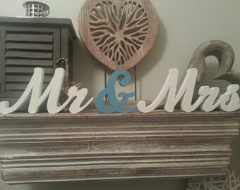 10cm Handpainted Freestanding Wedding Letters - Mr & Mrs - New Script - various finishes and colours available