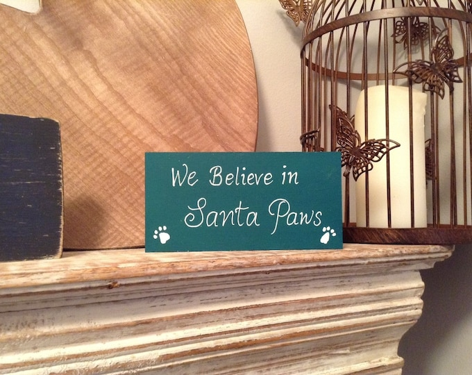 Christmas Freestanding Wooden Sign - Santa Paws