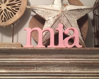 Personalised Wooden Name Sign - Free-standing - price per letter - Georgian - various colours & finishes - 10cm high, 18mm thick