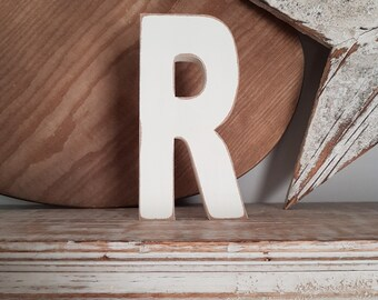 Wooden Letter R - painted and distressed - chunky, letter art, 15cm