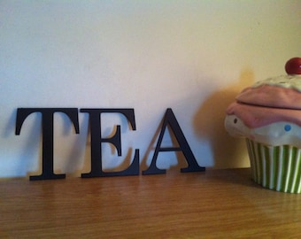 """Set of 3, Hand-painted Wooden Wall Letters - Roman Font - TEA - 6"""" - various colours and finishes"""