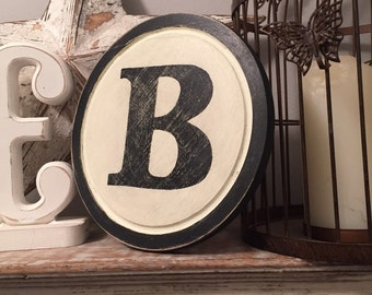 "8"" Round Letter B Sign, Monogram, Initial, Wall Art, Home Decor, Rustic Letters, All letters available, inc ampersand, typewriter style"