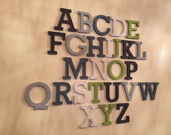 Full Wooden Alphabet - Set of 26 letters - 12cm high, Rockwell, any colours