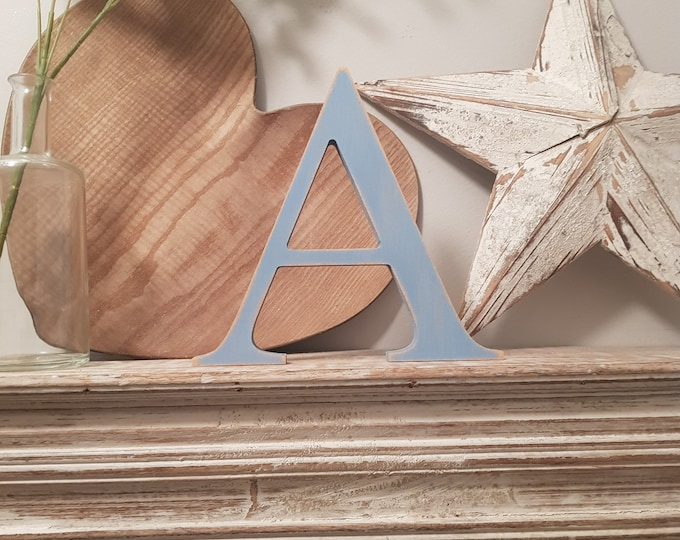 Wooden Letter 'A' -  10cm x 18mm - Georgian Font - various finishes, standing