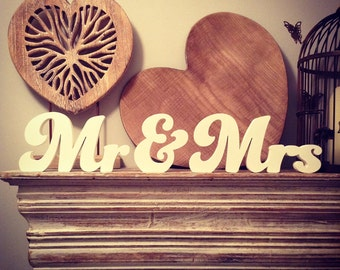 Wooden Wedding Letters - Mr & Mrs - New Funky Font, Hand-painted, Free-standing, 10cm - various colours and finishes