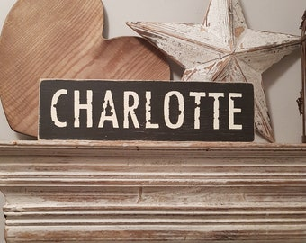Painted Wooden Sign - Custom Sign, City, Town, State - Wall Decor - Rustic, Vintage, Shabby Chic, Charlotte