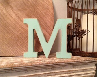 Freestanding Wooden Letter Ampersand 'M' - 20cm - Rockwell Font- various colours and finishes