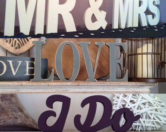 Wooden Wedding Table Decoration Package 7 - Mr & Mrs, Love, Love, I Do