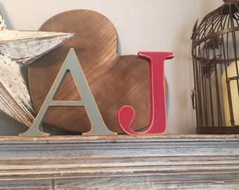 Freestanding Wooden Wedding Letters, Pair, Set of 2 - 20cm - Georgia Style Font - various colours & finishes