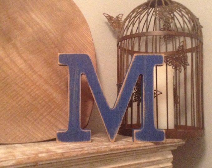 Wooden Letter M – Personalized Name Letter – Nursery Decoration Ideas – Rustic Room Décor – Rockwell Style M – Decorative Wooden Sign