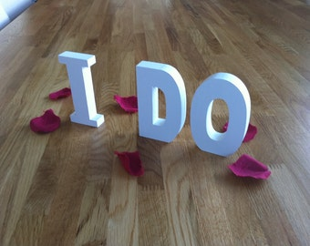 20cm Handpainted Wooden Freestanding Letters - I DO - Ariel Font - various colours and finishes