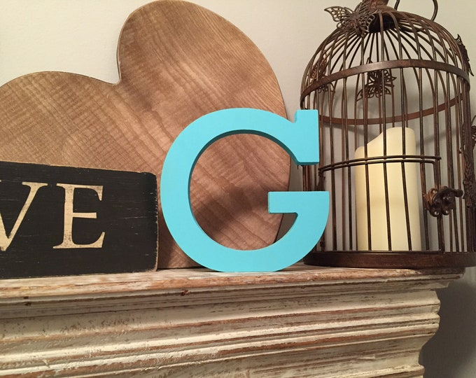 Hand-painted Wooden Letter G - Freestanding - Rockwell Font - Various sizes, finishes and colours - 15cm