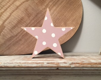 Single Wooden Star, Chunky, Free-standing, Any Colour, various sizes and finishes, distressed, 10cm high