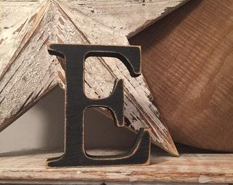 Wooden Letter 'E' - 15cm - Georgian Font - various finishes, standing