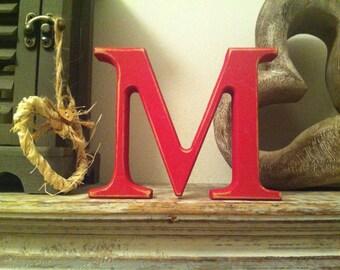 Freestanding Wooden Wedding Letter 'M' - 25cm - Georgia Style Font