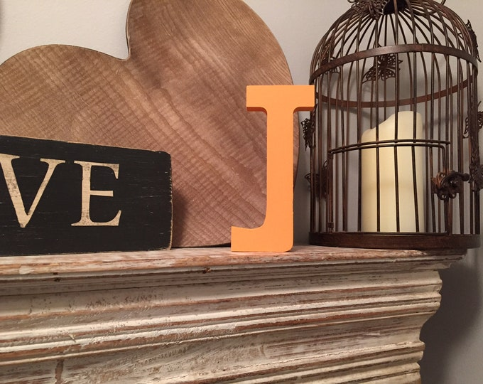 Wooden Letter J – Personalized Name Letter – Nursery Decoration Ideas – Rustic Room Décor – Rockwell Style J – Decorative Wooden Sign