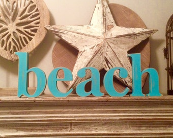Wooden Letters - beach - Georgian Font - free-standing, hand-painted