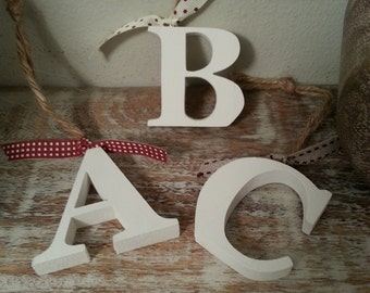 Hanging Wooden Letter Tag - Hand Painted - Any Initial