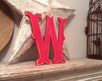 Wooden Letter 'W' -  15cm x 18mm - Circus Font - various finishes, standing