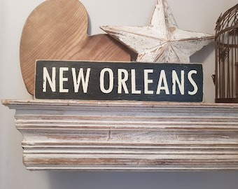 Painted Wooden Sign - Custom Sign, City, Town, State - Wall Decor - Rustic, Vintage, Shabby Chic, New Orleans, 42cm