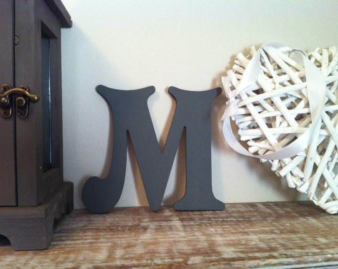 Wooden Letter M – Personalized Name Letter – Nursery Decoration Ideas – Rustic Room Décor – Victorian Style – Decorative Wooden Sign - 25cm