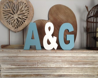 Set of 3 Wooden Letters, 15cm high, 18mm thick - various colours, ARIEL font, various colours and finishes
