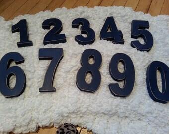 Wedding Table Numbers 1-10 - Handpainted & Freestanding - Set of 11 - 10cm high
