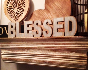 Wooden Letters - Free-standing - Ariel Font - 20cm - BLESSED, any colour, other sizes available