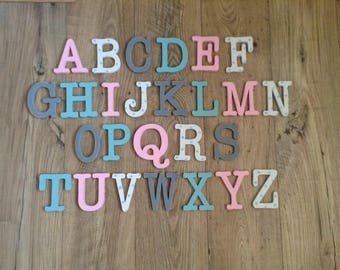 Full Wooden Alphabet - Hand Painted Wooden Letters Set - 26 letters - 10cm high - New Typewriter Font