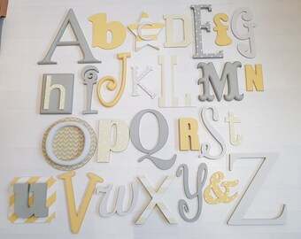 Full Wooden Alphabet - Hand Painted Wooden Wall Letters Set - 27 letters in total - mixed font and sizes - choose colours to suit your decor