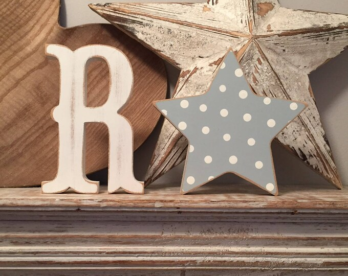 Wooden Letter & Star  - Star and Initial, Any letter, choice of colours,  Set of 2 - a letter and a star! 15cm high, nursery decor