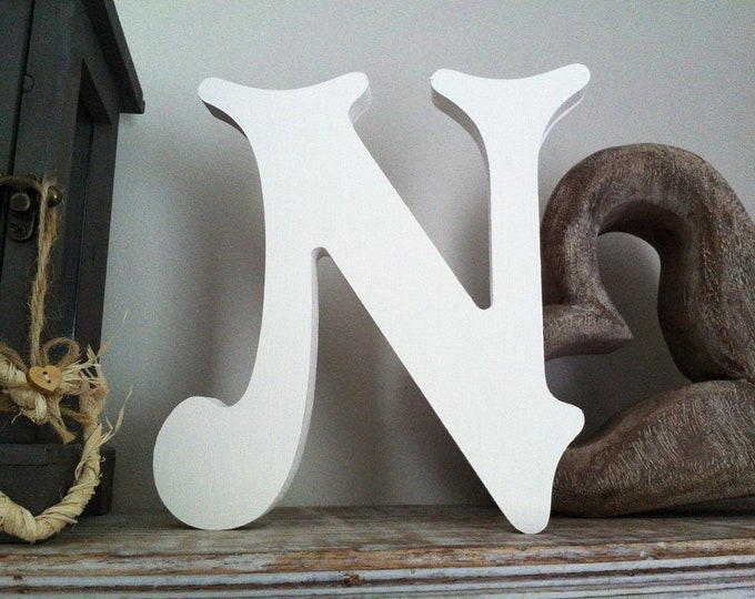 Wooden Letter N – Personalized Name Letter – Nursery Decoration Ideas – Rustic Room Décor – Victorian Style – Decorative Wooden Sign - 25cm