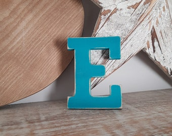 Wooden Letter E - painted and distressed - letter art, interior decor, 10cm