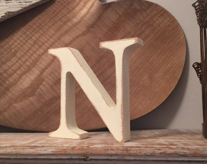 Wooden Letter 'N' -  30cm - Georgian Font - various finishes, standing