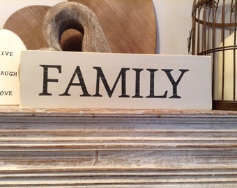 Large Wooden Sign - FAMILY - Rustic, Handmade, Shabby Chic