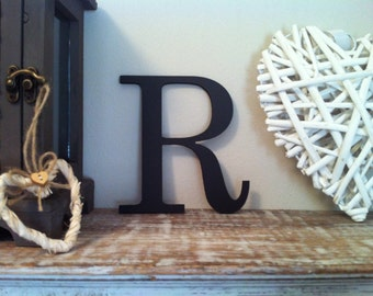 Wooden Wall Letter - Hand-Painted - Roman Font - R - various colours and finishes