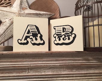 personalised letter block, initial, wooden letters, monograms, carnival letters, 15cm square