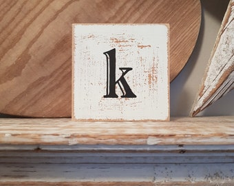 wooden sign, vintage style, personalised letter blocks, initials, wooden letters, monograms, 10cm square, hand painted, rustic, letter k