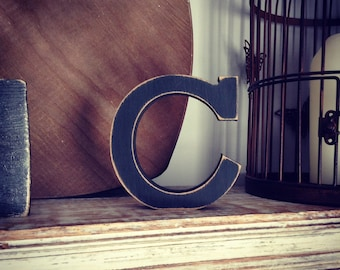 Wooden Letter C - 30cm x 18mm, Freestanding - Rockwell Font - Various sizes, finishes and colours