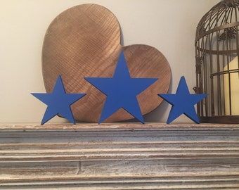 Wooden stars, set of 3, free-standing - 20cm and 15cm