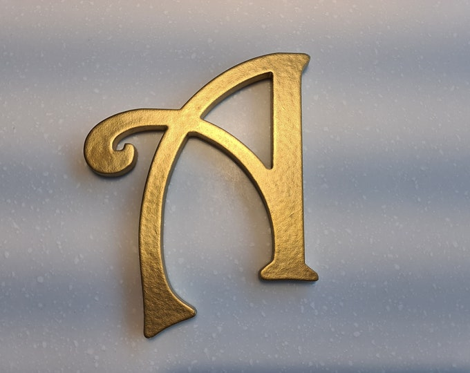 Wooden Letter 'A' -  15cm x 9mm - Princess Font - various finishes, non-standing