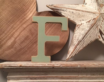 Wooden Letter 'F' - 10cm - Rockwell Font - various finishes, standing