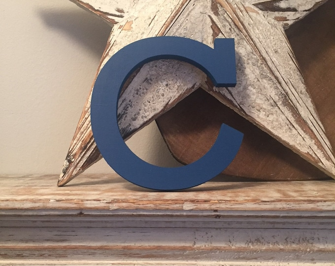 Hand-painted Wooden Letter C - Freestanding - Rockwell Font - Various sizes, finishes and colours - 15cm