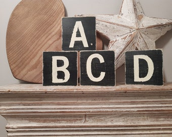wooden sign, vintage style, personalised letter blocks, initials, wooden letters, monograms, 10cm square, hand painted, rustic
