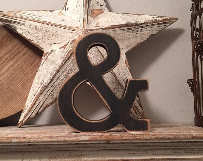 Wooden Letter 'ampersand' - 10cm - Rockwell Font - various finishes, standing