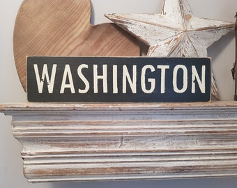 Painted Wooden Sign - Custom Sign, City, Town, State - Wall Decor - Rustic, Vintage, Shabby Chic, Washington